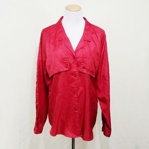 Diane Von Furstenberg vintage button shirt red L